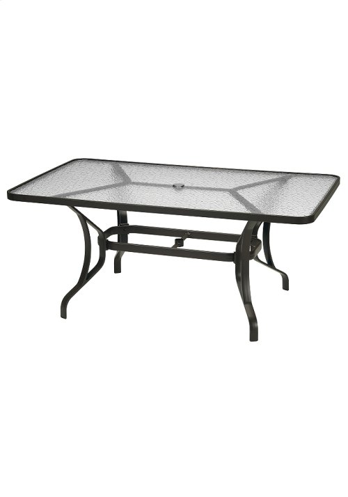 """Obscure Glass 66"""" x 40"""" Rectangular KD Dining Umbrella Table"""