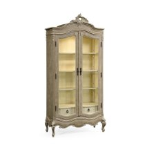 French Provincial Grey Glazed Display Cabinet