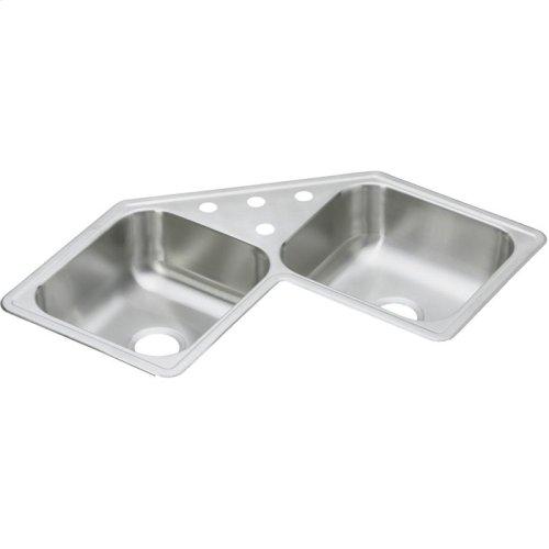 "Dayton Stainless Steel 31-7/8"" x 31-7/8"" x 7"", Equal Double Bowl Corner Sink"