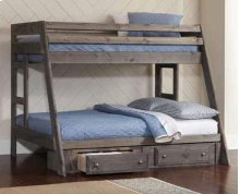 Twin / Full Rustic Wood Bunkbed with Storage