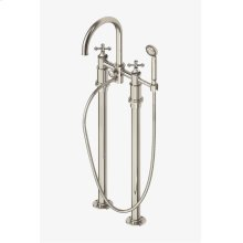 Dash Floor Mounted Exposed Tub Filler with Metal Handshower and Cross Handles STYLE: DSXT60