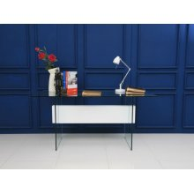 The Il Vetro High Gloss White Lacquer W Tempered Glass Office Desk