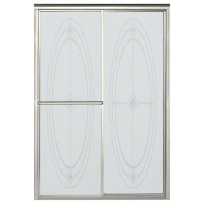 "Deluxe Sliding Shower Door - Height 70"", Max. Opening 48-7/8"" - Nickel with Ellipse Glass Pattern"