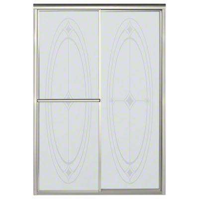 "Deluxe Sliding Shower Door - Height 70"", Max. Opening 48-7/8"" - Nickel with Ellipse Glass Pattern"