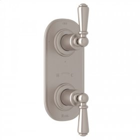 "Satin Nickel Perrin & Rowe Edwardian Trim For 1/2"" Thermostatic/Diverter Control Rough Valve with Edwardian Metal Lever"