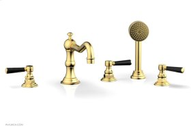 HENRI Deck Tub Set with Hand Shower with Marble Handles 161-50 - Satin Gold