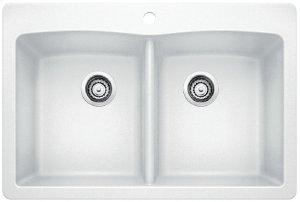 Blanco Diamond Equal Double Bowl With Ledge - White