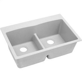 "Elkay Quartz Classic 33"" x 22"" x 10"", Equal Double Bowl Top Mount Sink with Aqua Divide, White"