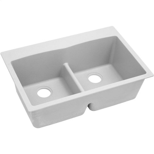 "Elkay Quartz Classic 33"" x 22"" x 10"", Equal Double Bowl Drop-in Sink with Aqua Divide, White"