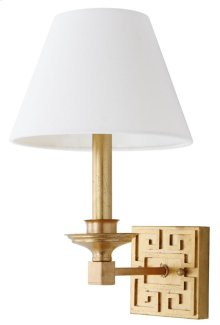 Elvira Gold 15-inch H Greek Key Wall Sconce - Gold Shade Color: Off-White
