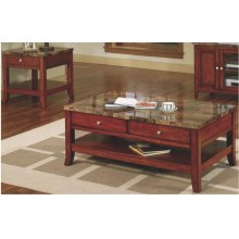 FAUX MARBLE COFFEE TABLE-CHERRY