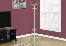 "COAT RACK - 70""H / WHITE METAL WITH AN UMBRELLA HOLDER"