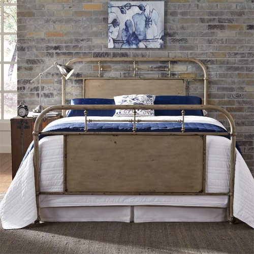 King Metal Bed - Vintage Cream