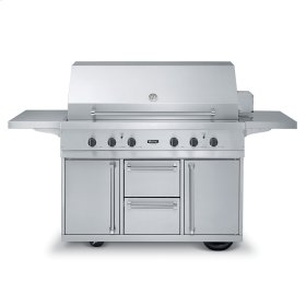 """Stainless Steel 53"""" Ultra-Premium T-Series Grill with TruSear Infrared Burner- VGIQ (53"""" wide with three standard 25,000 BTU stainless steel burners and one 30,000 BTU TruSear infrared burner (Natural Gas))"""