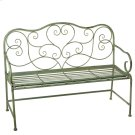 Distressed Mint Bench with Scroll Pattern. Product Image