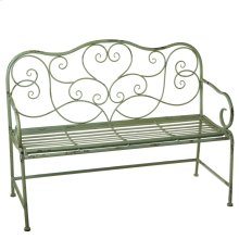 Distressed Mint Bench with Scroll Pattern.