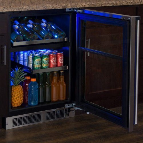 """Marvel Professional 24"""" Dual Zone Wine and Beverage Center - Panel-Ready Framed Glass Door with Lock - Integrated Left Hinge (handle not included)*"""