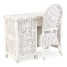 3700 Series Wicker 4 Drawer Desk and Desk Chair Cotton
