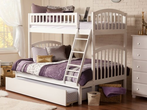 Richland Bunk Bed Twin over Full with Urban Trundle Bed in White