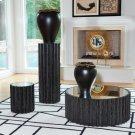 Reflective Column Pedestal-Black Cerused Oak Product Image