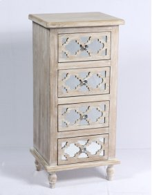 4 Drawer Accent Chest-weathered Wood Finish W/mirror Accent Su