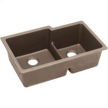 """Elkay Quartz Classic 33"""" x 20-1/2"""" x 9-1/2"""", Offset Double Bowl Undermount Sink with Aqua Divide, Greige"""