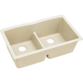 """Elkay Quartz Luxe 33"""" x 19"""" x 10"""", Equal Double Bowl Undermount Sink with Aqua Divide, Parchment"""