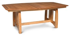 "Aspen Trestle Table with Inlay, Aspen Trestle Table with Inlay, 42""x80"", 4-leaves"