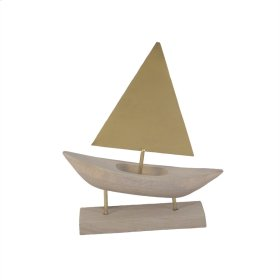 Wood/gold Sailboat On Stand