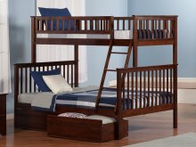 Woodland Bunk Bed Twin over Full with Flat Panel Bed Drawers in Walnut