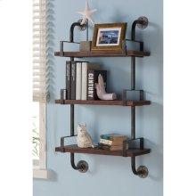 """Armen Living 40"""" Booker Industrial Walnut Wood Floating Wall Shelf in Silver Finish"""