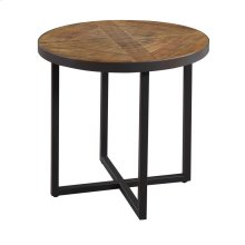 Emerald Home Denton Round End Table Poplar Top-metal Base Antique Pine T650-01
