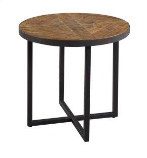 Emerald Home Denton Round End Table Poplar Top-metal Base Antique Pine T650-01