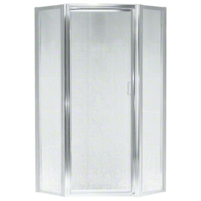 Intrigue™ Neo-angle Shower Door - Silver with Rain Glass Texture