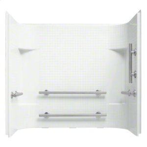 """Accord® 60"""" x 30"""" x 55"""" Tile Wall Set with Grab Bars - White Product Image"""