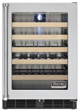 """24"""" Undercounter Wine Cellar VWCI, Clear Glass, Right Hinge/Left Handle"""