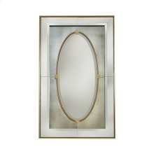 Mirror with Antique Glass, Beveled Clear Glass, and Brass Accents
