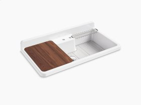 """White 45"""" X 25"""" X 9"""" Top-mount/wall-mount Kitchen Sink With Two Faucet Holes, White Underside"""