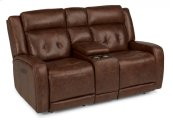Jude Leather Power Reclining Loveseat with Console and Power Headrests