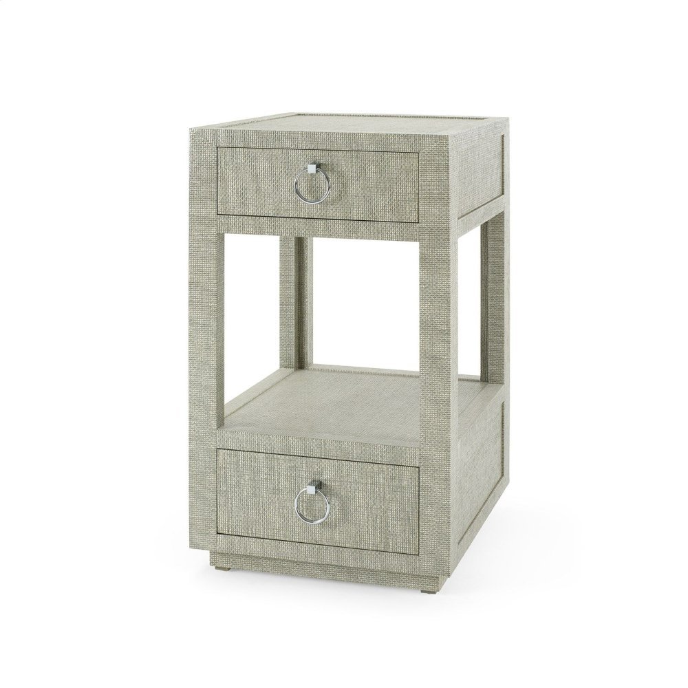 Camilla 2-Drawer Side Table, Moss Gray Tweed