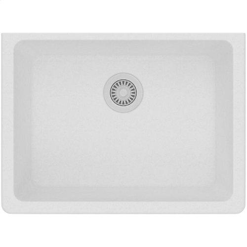 "Elkay Quartz Classic 24-5/8"" x 18-1/2"" x 9-1/2"", Single Bowl Undermount Sink, White"