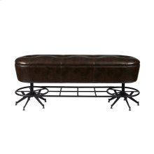 Ale House Gathering Bench with Metal Base and Upholstered Seat