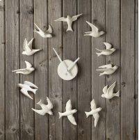 Porcelain Bisque Bird Wall Clock. Product Image