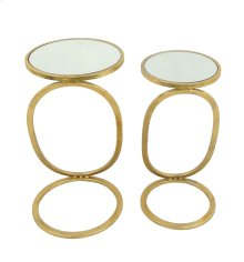S/2 Gold Accent Tables, Mirror Top