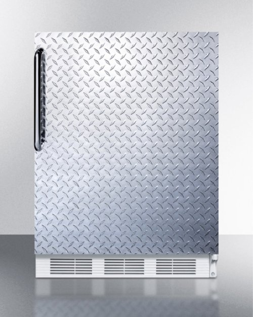 Freestanding Counter Height Refrigerator-freezer for Residential Use, Cycle Defrost With A Diamond Plate Wrapped Door, Towel Bar Handle, and White Cabinet