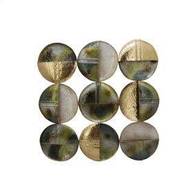 """Metal 9 Circle 35.5"""" Wall Decor, Green Mix, Wb"""