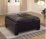 Square Ottoman Cocktail Table with Storage Product Image