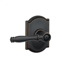 Birmingham Lever with Camelot trim Bed & Bath Lock - Aged Bronze