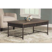 Casselberry Coffee Table (pipe Leg) - Distressed Walnut / Brown Metal