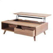 Pascal KD Lift-Top Rectangular Coffee Table, Storage and Drawer, Walnut Product Image